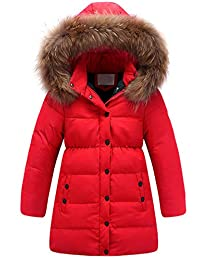 Kedera Big Girls' Winter Parka Down Coat Puffer Jacket Padded Overcoat with Fur Hood