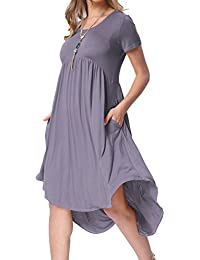 Women's Scoop Neck Pockets High Low Pleated Loose Swing...