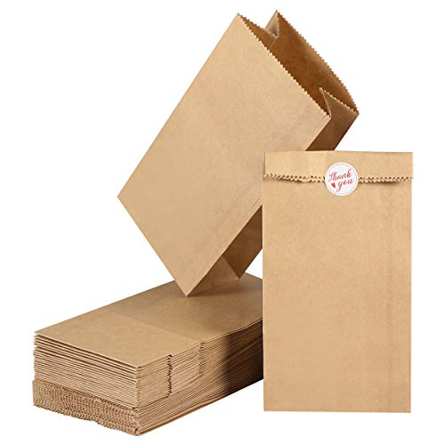 - Toyvian Kraft Paper Bag, Fresh Bread Candy Gift Bag 100Pcs Wedding Treat Cafe Party Brown Paper Storage Bag with Sticker, 18 * 9 * 5.5CM