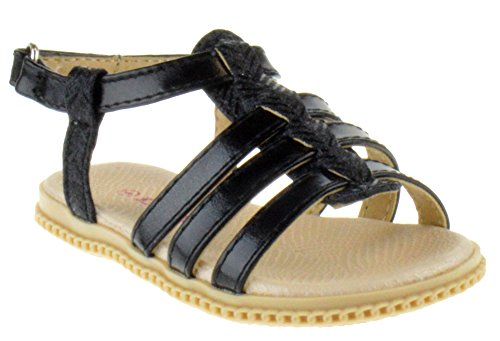 Link Holy 34KA Toddler Braided Caged Gladiator Glitter Sandals Black (Glitter Gladiator Sandals)
