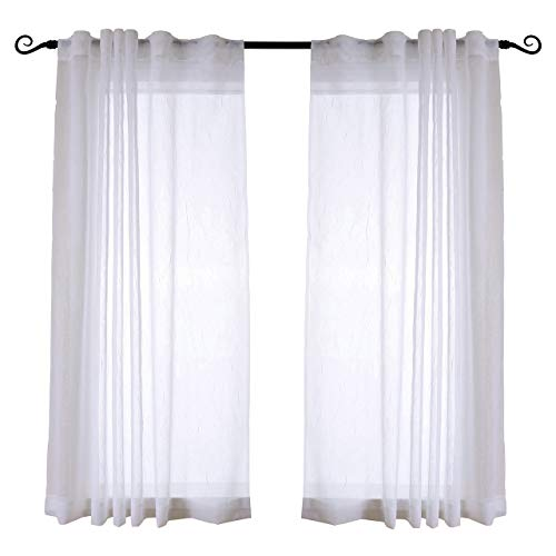 MYSKY HOME Back Tab and Rod Pocket Window Crushed Sheer Curtains for Bedroom, White, 51 x 63 Inch, Set of 2 Crinkle Sheer Curtain Panels