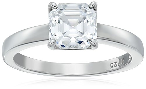 Platinum-Plated Silver Asscher-Cut (2 cttw) Solitaire Ring made with Swarovski Zirconia, Size 9