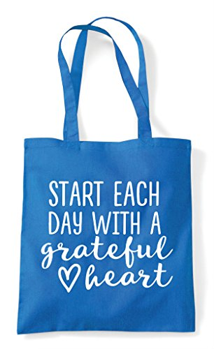 Shopper Grateful A Each With Tote Heart Statement Day Start Sapphire Bag 7HzxtwIw