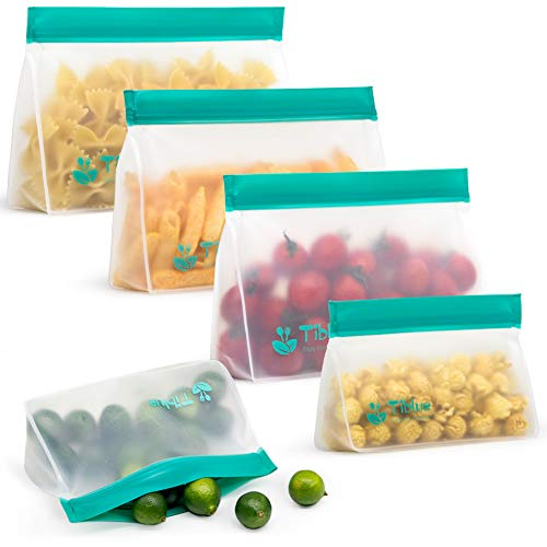 STAND-UP Freezer Bags - 5 Pack Reusable Storage Bags (3 Reusable Sandwich Bags + 2 Reusable Snack Bags)- EXTRA THICK Reusable Lunch Bag Leakproof Ziplock Bag for Food Storage FDA Approved BPA FREE ECO