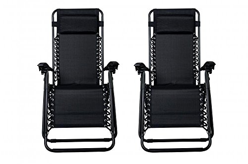 F&D Folding Zero Gravity Lounge Chaise Chair Aluminum Recliners Pool Chaise with Pillow, Sets of 2 (Lounge Chairs Boat Deck)