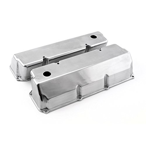 Design Valve Tall Covers (Procomp Electronics PCE314.1088 Ford 302 351C Cleveland Polished Aluminum Plain Valve Covers - Tall w/Hole Tall)