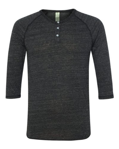 Alternative Apparel 3/4 Sleeve Raglan Henley Shirt, Large/black ()