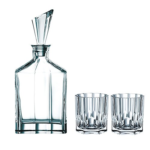 3 Piece Decanter Set (Nachtmann Aspen Decanter Set with Stopper and Whisky Tumblers)