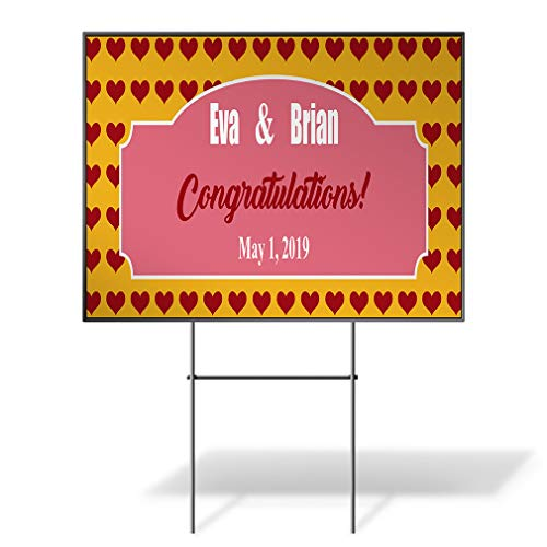 - Custom Personalized Yard Sign Wedding Congrats Name Date Red Hearts Whales One Side Print 18inx12in