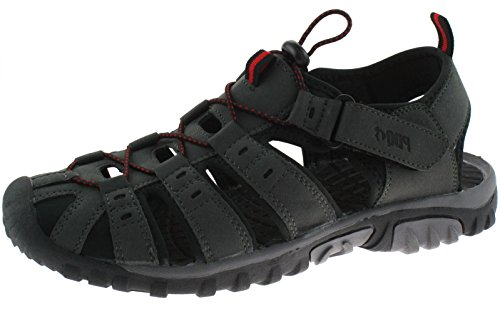 e elastico Mens Uomo Sandali Gents robusto in Red Comfy Grey velcro in Sport chiusa Punta Terminale chiusura gqCFwCf