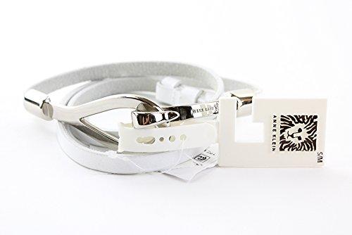 Anne Klein Women's AK Belt with Hook Ring White Gold Belt SM/MD