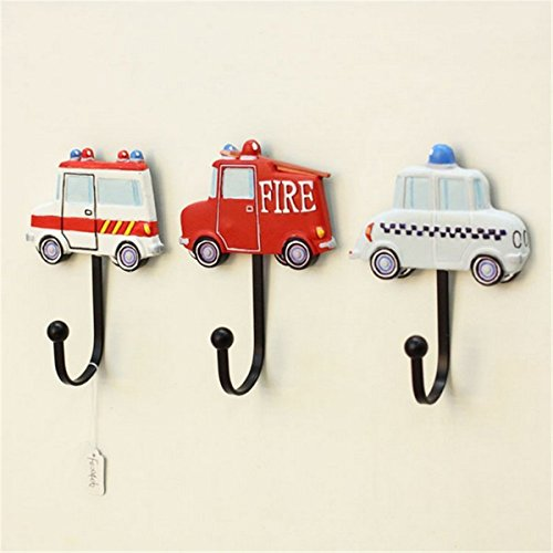 3 Pcs Vintage Hand Made Painted Poly Resin Policy Car Fire Truck and Ambulance Car Home Door Wall Mount Hooks Home Towel Clothes Hat Coat Key Hanger (Cars ()