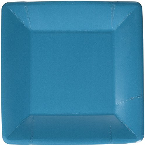 Durable Plain Square Eco Party Plates Tableware, Peacock Blue, Paper, 7