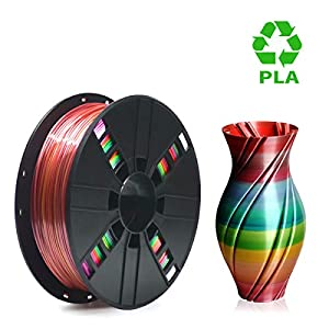 PLA Filament 1.75mm Rainbow Multicolor, ERYONE Multicolor Filament PLA 1.75mm, 3D Printing Filament PLA for 3D Printer and 3D Pen, 1kg 1 Spool from ERYONE