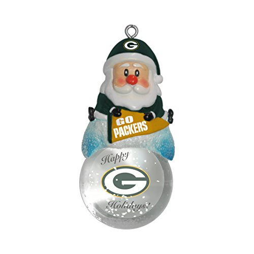 NFL Green Bay Packers Snow Globe Ornament, Silver, 1.5