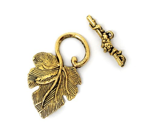 Zinc Metal Alloy Toggle Clasps Leaf Gold Tone Leaf Pattern 37mm x23mm(1 4/8inches x 7/8inches) 25mm x8mm(1inches x 3/8inches), 3 Sets New