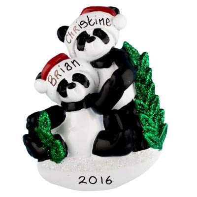 - Panda Family of 2 Personalized Ornament - (Unique Christmas Tree Ornament - Classic Decor for A Holiday Party - Custom Decorations for Family Kids Baby Military Sports Or Pets)
