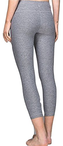 er Crop Yoga Pants Heathered Slate Grey Luon (10) ()