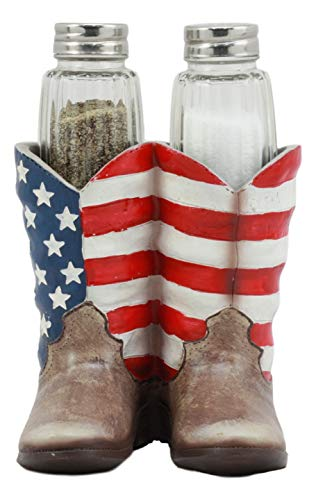 Ebros Patriotic Stars and Stripes American Flag Boots Salt and Pepper Shakers Set with Decorative Resin Display Holder Figurine and Glass Shakers Kitchen Country Western Decor Statue
