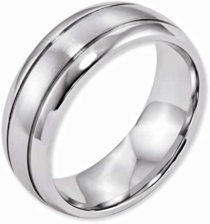 Top 10 Jewelry Gift Cobalt Polished and Satin Grooved 8mm Band