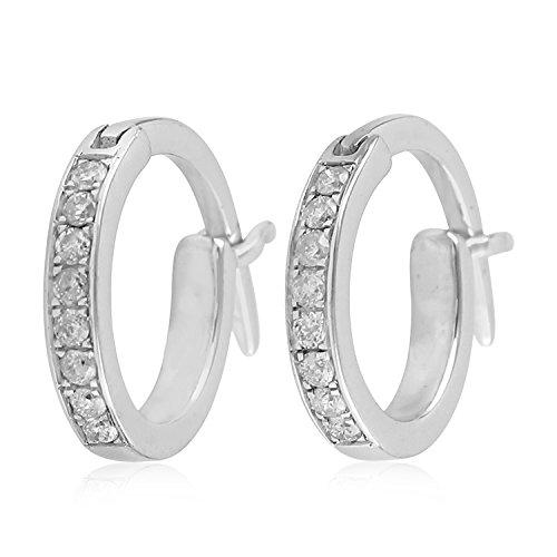 14K White Gold Micropave-Set White Diamond Huggie Hoop Fashion Earrings For Women