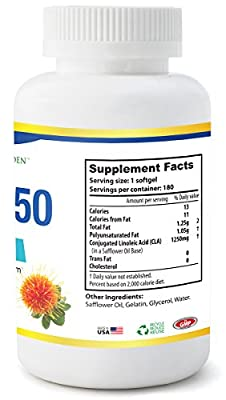 CLA 1250 by Potent Garden, 180 Softgels, Highest Potency Non-GMO Exercise Enhancement Supplement, 95% active Conjugated Lineolic Acid (CLA) per capsule
