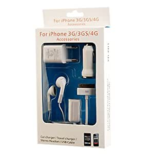 buy 5-in-1 Charging Kit (Car Charger/Travel Charger/Stereo Headset/USB Cable/Audio Splitter) for iPhone 3G/3GS/4G
