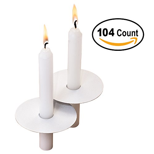 Exquizite 104 Church Candles with Drip Protectors for Devotional Candlelight Vigil Service, Box of 104 Candles, Unscented White 5
