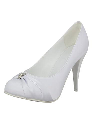 Escarpins : mariée Satin Blanc Ivoire Strass: : Escarpins Chaussures et 9ff5eb