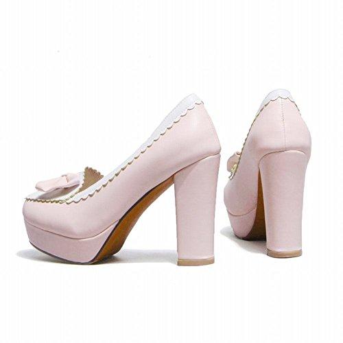 Mee Shoes Damen modern süß populär runder toe mit Schleife Spitze Geschlossen Plateau Pumps mit hohen Absätzen Hellpink