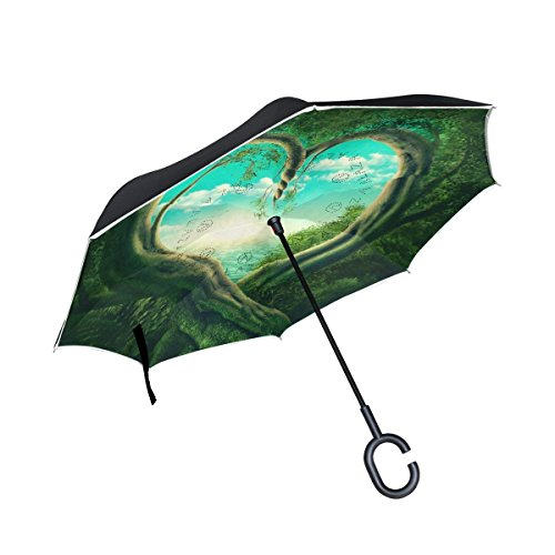 Ladninag Inverted Reverse Umbrella Two Trees Forming A Heart Windproof for Car Rain (Forming Cross Pattern)