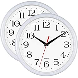 Bernhard Products - White Wall Clocks,10 Inch - Set of 2 Silent Non Ticking Quality Quartz Battery Operated Round Easy to Read Home/Office/School Clock