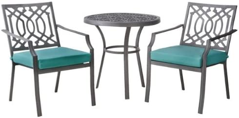 Patio Furniture Bistro Set – Threshold Harper 3-Piece Collection – Metal Chair Table Outdoor Entertaining Dining Setting – Garden Space Decor with cushions – Turquoise color – 1 Year Limited Warranty