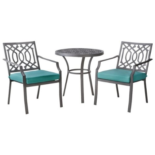Patio Furniture Bistro Set – Threshold™ Harper 3-Piece Collection – Metal Chair Table Outdoor Entertaining Dining Setting – Garden Space Decor with cushions – Turquoise color – 1 Year Limited Warranty