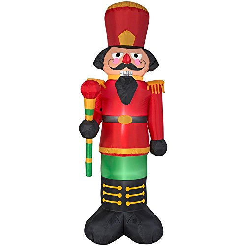 Beautiful Nighttime Display Red Nutcracker LED Airblown Inflatable 6.5 Ft.