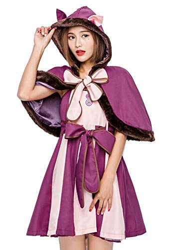 Tutu Dreams Alice in Wonderland Cheshire Cat Hooded Cloak Costume Outfits for Women Girls Ladies Xmas Gifts (Medium)