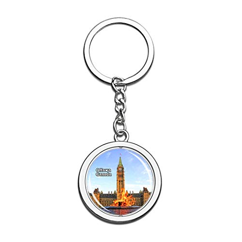 Keychain Parliament Hill and Buildings Ottawa Canada Keychain 3D Crystal Spinning Round Stainless Steel Keychains Travel City Souvenir Key Chain Ring -