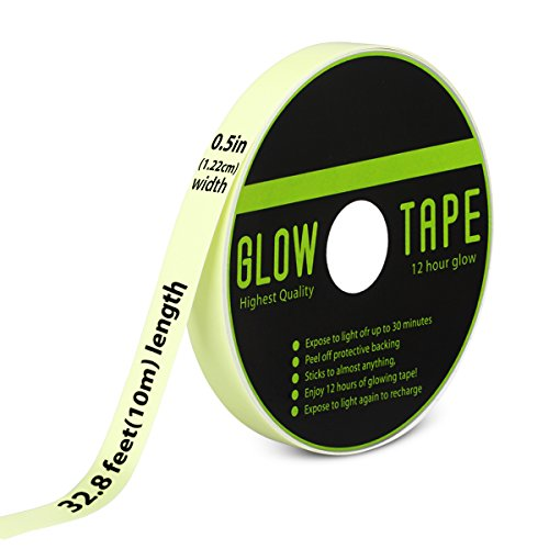 Picopaco Glow in the Dark Duct Tape Fluorescent Bright 12 Hours Green Glow Waterproof Non-slip Safety Stickers 32.8 ft ×0.5 in (Fluorescence 1) … ()