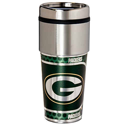 (NFL Green Bay Packers 16 oz. Stainless Steel Travel Tumbler with Metallic Graphics, Team Color)