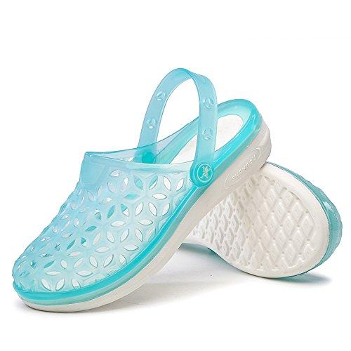 EnllerviiD Women Closed Toe Summer Flat Jelly Sandals Cut-out Rain Garden Beach Slides Shoes 018 Blue ncbhPh