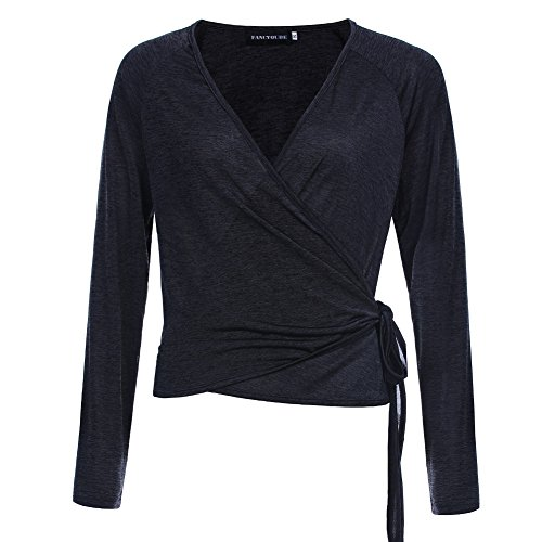 Fancyqube Women's Raglan Long Sleeve Shirt Knit Top Deep V-Neck Ballet Wrap Cardigan Black XL