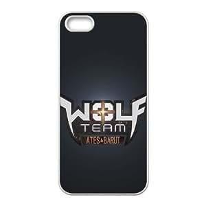 MAGNIFICA WolfTeam W para el funda iPhone 5 5s funda del teléfono celular de cubierta blanca
