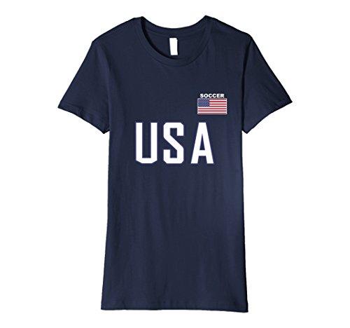 Womens USA Flag Soccer T-shirt Cool Pocket Sporting Team Gift Tee Small - Usa Female