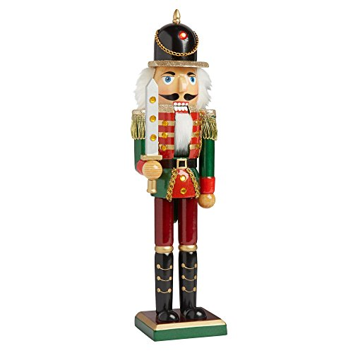 Nantucket Home Wooden Christmas Nutcracker Decor, 15-Inch (Red/Green (Christmas Wooden Soldiers)