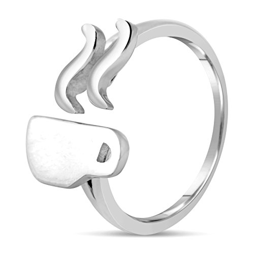 Coffee Lover Gift - Simple & Unique 925 Sterling Silver Coffee Ring Jewelry for Women by Chorse