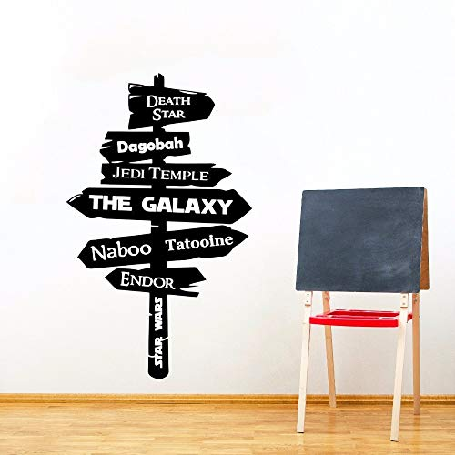 Wall Mural DIY Removable Sticker Decoration Star Wars Wall Decal Removable Galaxy Jedi Road Sign Vinyl Wall Sticker Decor Road Sign Wall Vinyl Art Ay0183 ()