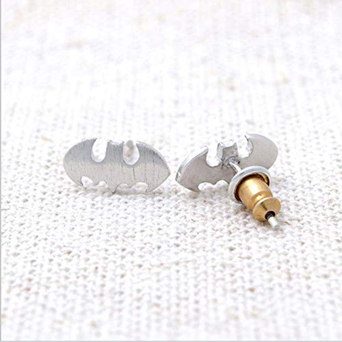Wholesale 10Pairs Fashion Batman Earring Silver Gold Rose Gold Color Fashion Studs Earrings for Women Kids Jewelry (Silver Plated)]()