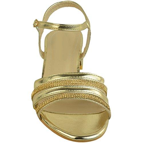 à Mariage Strass Petits Métallisé Heelberry® Sandales Brillant Fête Doré Vintage Femme Larges Talons gq4H65