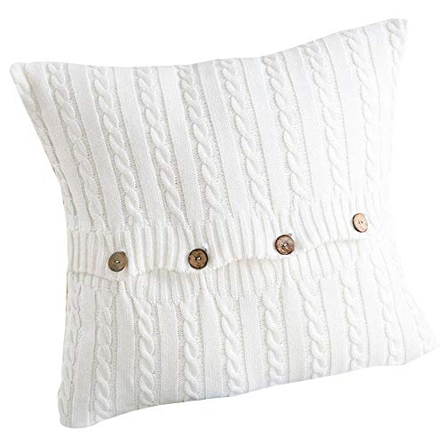 (EnjoyBridal Cotton Knitted Pillowcase Knitting Patterns Bed Soft,Sofa Square Warm Pillow Covers, 4545CM Throw Sweater Pillow Cover with Button,Cover Only (4545CM,)