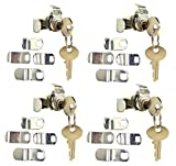 Bulltight Mailbox Lock, Universal Multipurpose Replacement kit, Opens Counter Clockwise, 4 Pack Keyed Different